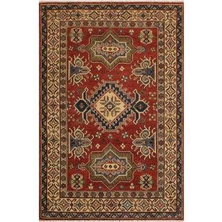 Kazak Garish Pablo Red/Ivory Wool Rug - 3'9 X 5'9 For Sale