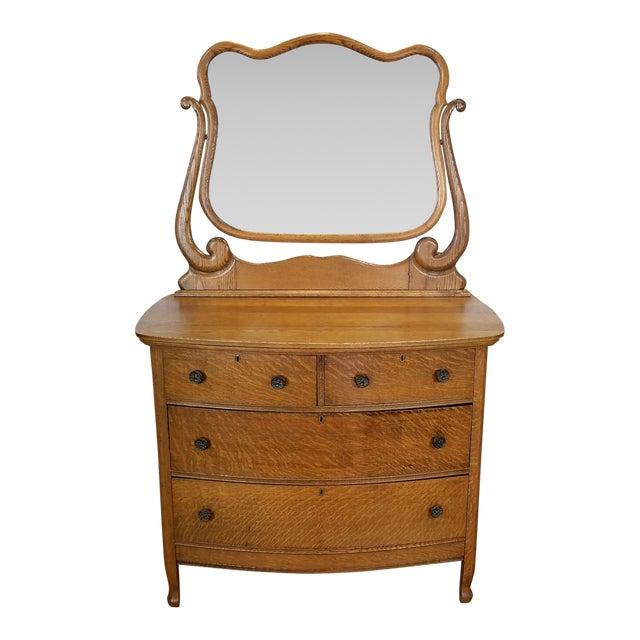 Antique Victorian Quartered Oak Dresser & Mirror - Image 1 of 9