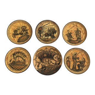 Greek Motif Terra Cotta Plates - Set of 6 For Sale