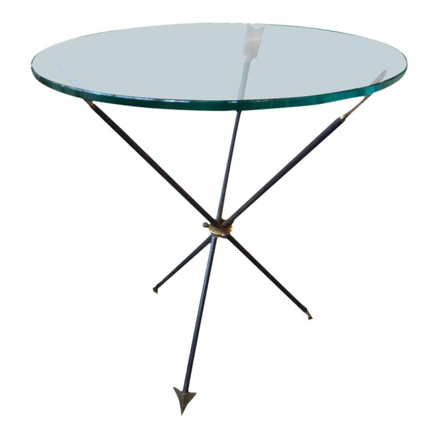 1960's Italian Gio Ponti Style Iron and Brass Arrow Table For Sale - Image 10 of 10