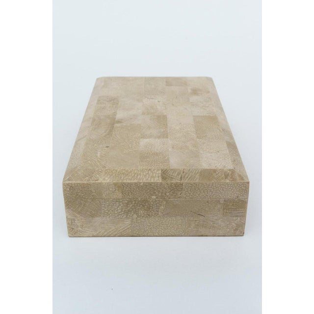Tan 1980s Jewelry Box in Tessellated Marble For Sale - Image 8 of 9