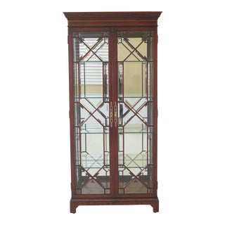 1990s Vintage Karges 2 Door Beveled Glass Mahogany Display Curio Cabinet For Sale