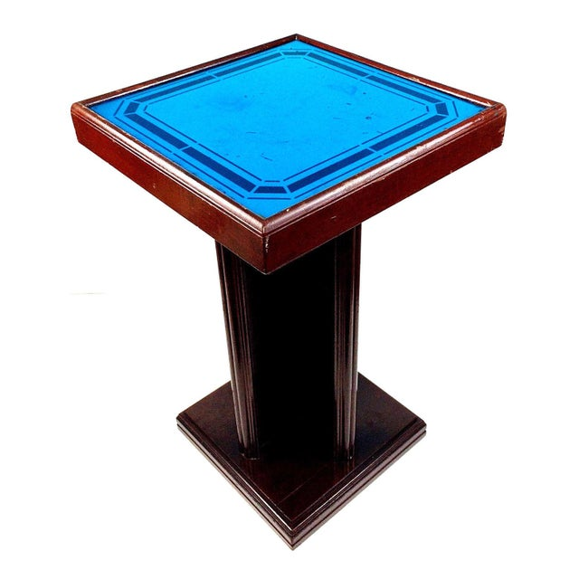 Blue Art Deco Cobalt Glass Mirror Side Accent Table For Image 8 Of