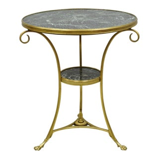 20th Century French Bronze Neoclassical Round Green Marble Top Gueridon Table For Sale