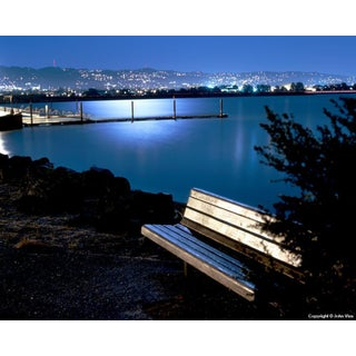 "Contemporary Night Photograph ""Moonlit Bench"" by John Vias For Sale"