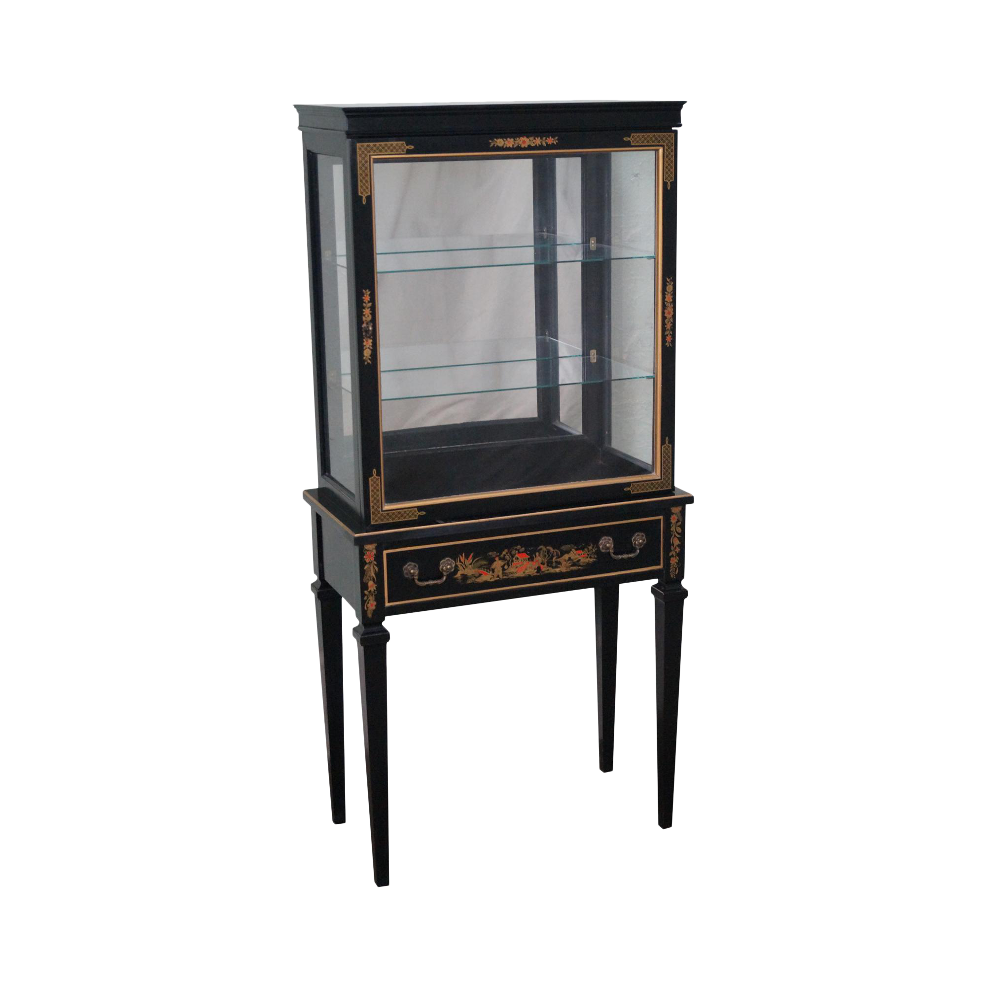 Vintage Black Chinoiserie Painted Small Curio Display