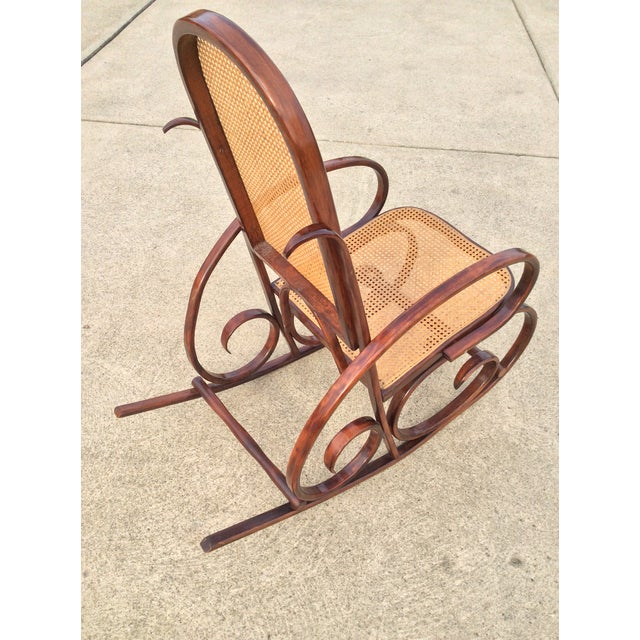Vintage Luigi Crassevig Bentwood Rocking Chair In The Style of Michael Thonet. Wood is stained in a stunning dark...