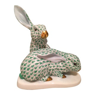 Herend Green Rabbits Figurine For Sale