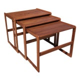 Image of 1960s Vintage Danish Teak Nesting Tables- Set of 3 For Sale