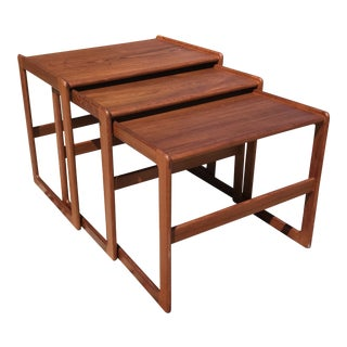 1960s Vintage Danish Teak Nesting Tables- Set of 3 For Sale