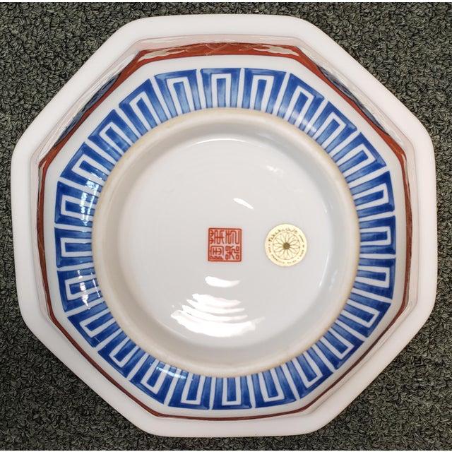 Ceramic Vintage 1970s Japanese Takahashi Imari Style Porcelain Octagonal Bowl For Sale - Image 7 of 8