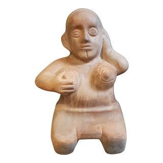 "Aztec-Style Terracotta Woman Sculpture by Margarita ""Mago"" Orona Gandara, Mexico, 4th Quarter 20th Century) For Sale"