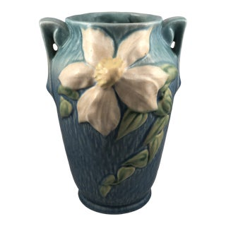 Vintage Roseville Pottery Clematis Double Handled Vase For Sale