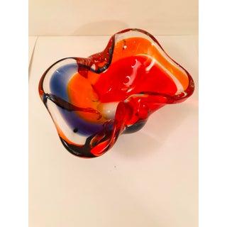 Vintage Italian Red & Blue Multi-Color Murano Glass Art Ashtray Preview