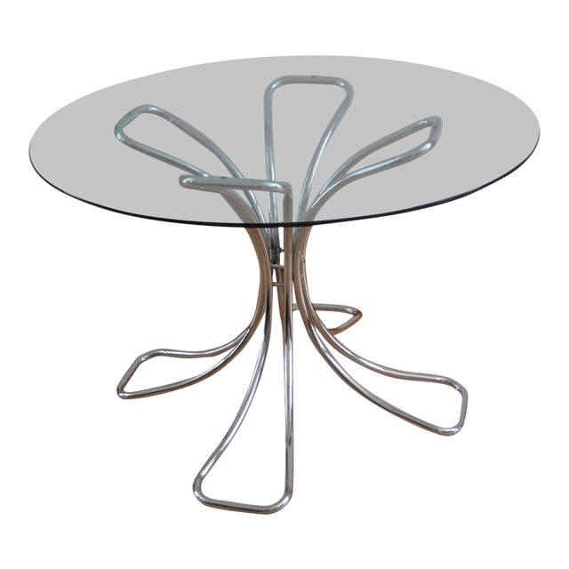 20th Century Rinaldi Chrome and Glass Dining Table For Sale