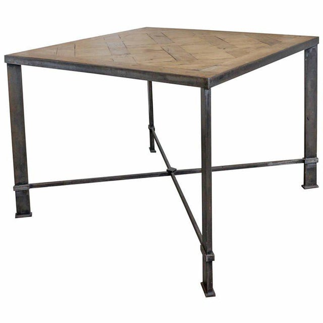 French Iron Table With 19th Century Wood Top For Sale - Image 9 of 9