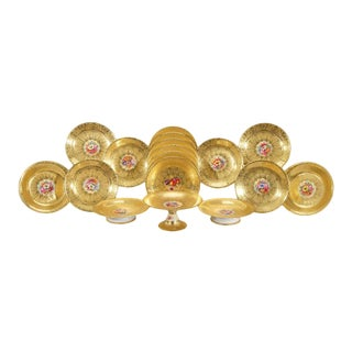 Royal Worcester Hand Painted Gilded Dessert Service for Asprey's-17 Pieces For Sale