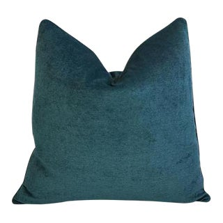 "24"" Custom Tailored Marine Green/Turquoise Velvet Feather & Down Pillow"