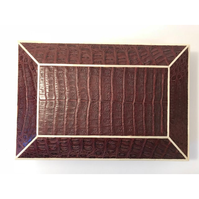 Beautiful Brown Crocodile box with bone inlay.