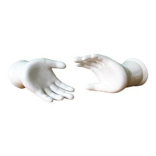 White Ceramic Hands - a Pair For Sale