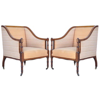 Faux Bamboo-Form Satinwood Inlaid Regency Style Mahogany Armchairs- A Pair For Sale
