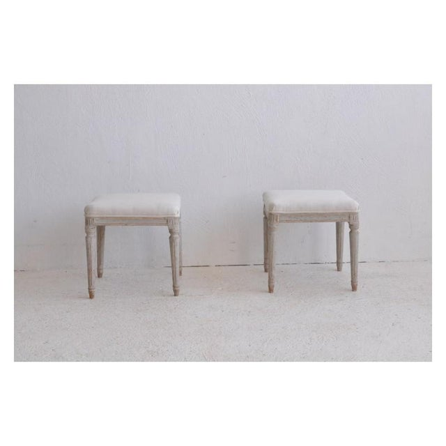 19th Century 19th Century Pair of Swedish Late Gustavian Stools For Sale - Image 5 of 7