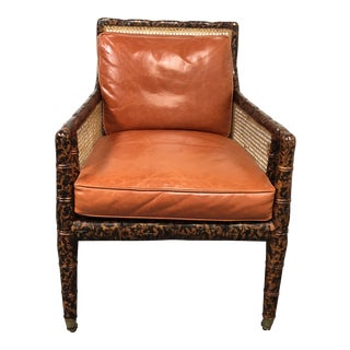 Dessin Fournir Regency Chinoiserie Bamboo Caned Arm Chair For Sale