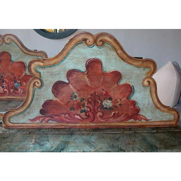 Blue Mid 19th Century Venetian Baroque Style Pine Polychromed Highback Bench For Sale - Image 8 of 10