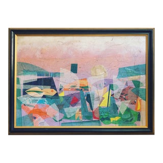 Impressionist Framed Mixed Media Vibrant Abstract Landscape For Sale