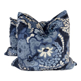 "Floral Epingle Velvet in Blue 22"" Pillows-A Pair For Sale"