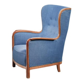 Frits Henningsen Wingback Chair, Denmark, 1940s For Sale