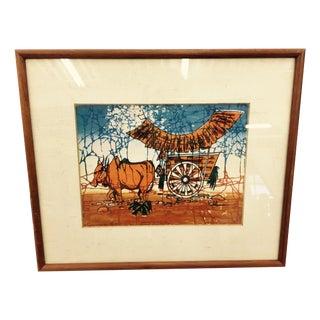 Vintage Southwestern Style Framed Textile Art For Sale