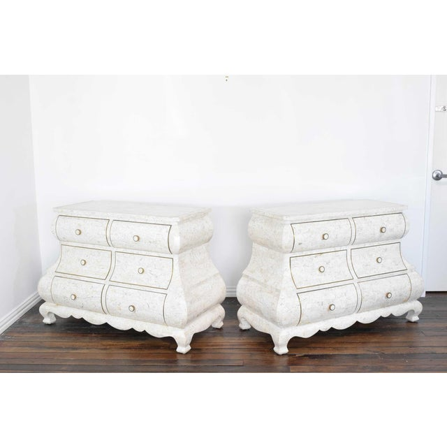 Maitland Smith Tessellated Marble Bombe Chests - A Pair For Sale - Image 10 of 10