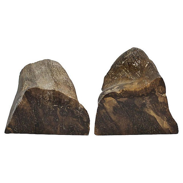 1960s Vintage Petrified Wood Bookends For Sale - Image 5 of 6