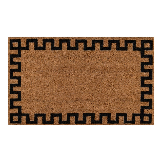 Erin Gates by Momeni Park Greek Key Natural Hand Woven Natural Coir Doormat - 1′6″ × 2′6″ For Sale