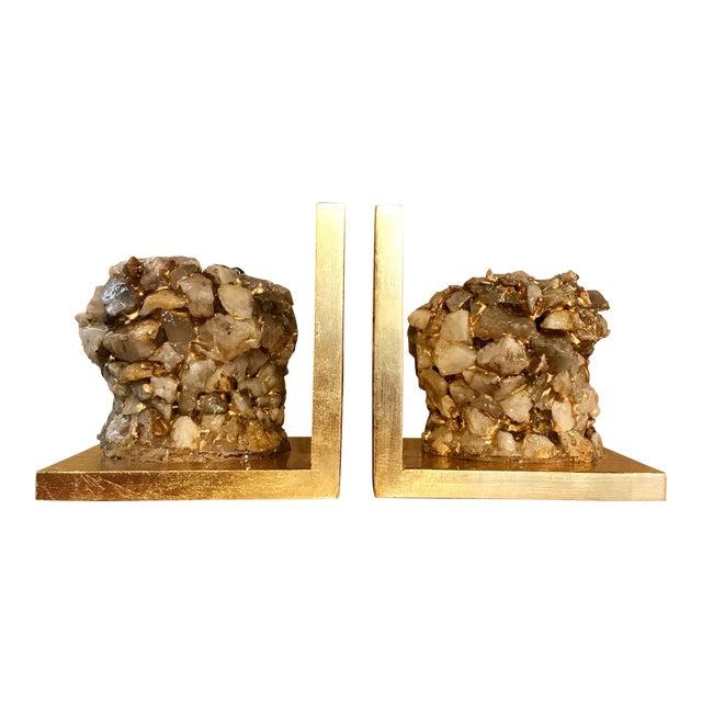 Quartz Stone Gold Leaf Bookends - A Pair - Image 1 of 9
