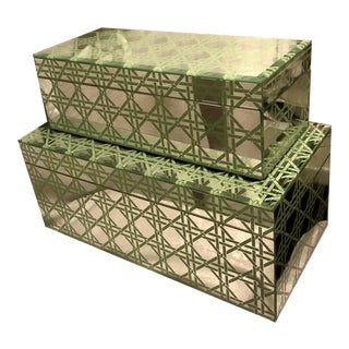 Hollywood Regency Rattan Beveled Mirrored Box Set - 2 Pieces For Sale