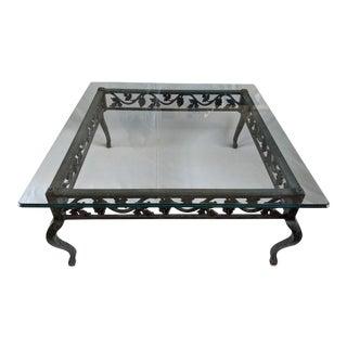 Lane Verdigris Wrought Iron Grapevine Coffee Table For Sale