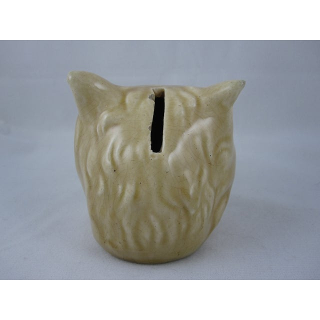 Antique French Orchies Majolica Cat Head Bank - Image 6 of 8