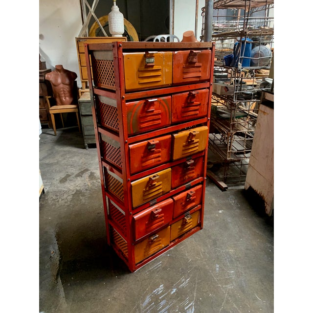 Vintage Industrial Orange 10-Basket Metal Locker Storage For Sale - Image 13 of 13