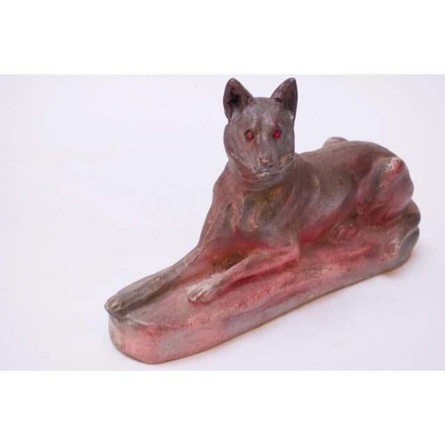 Circa 1940s American painted chalkware German Shepherd. These figurines date back as far as the 1800s and were often used...
