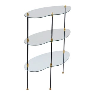 Italian Mid-Century Three Tier Glass Etagere or Side Table
