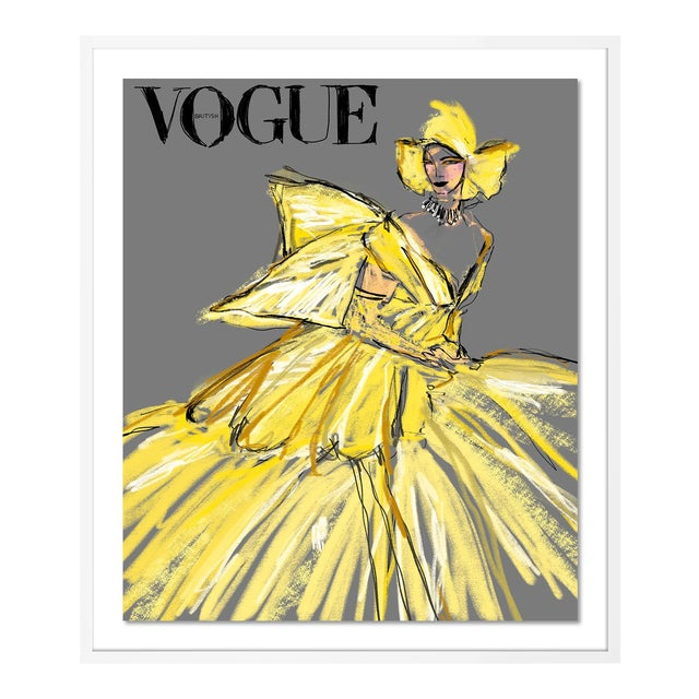 British Vogue August 2020 by Annie Naranian in White Frame, Medium Art Print For Sale