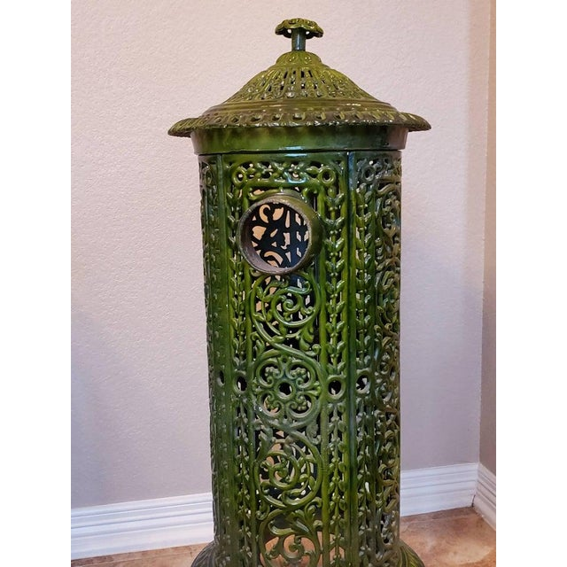 19th Century Decorative French Art Nouveau Enameled Cast Iron Antique Parlor Heater Stove For Sale - Image 5 of 11
