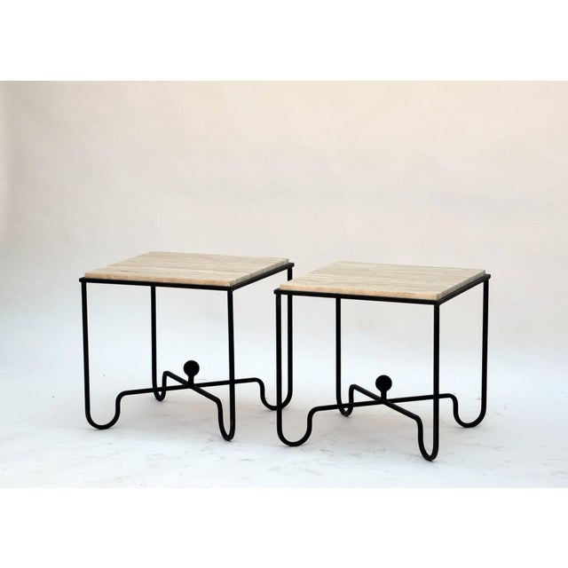 "Contemporary Design Frères Wrought Iron and Travertine ""Entretoise"" Side Tables - a Pair For Sale - Image 9 of 10"