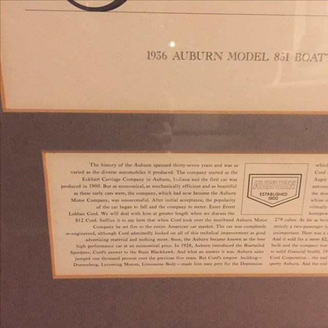 Vintage Framed 1936 Auburn Model 851 Speedster Car Print - Image 4 of 9
