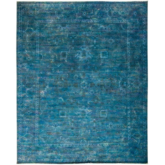 Overdyed Hand-Knotted Blue Rug- 8′2″ × 9′10″ For Sale