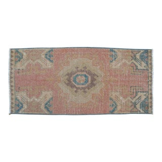 Vintage Turkish Yastik Hand Knotted Faded Rug For Sale