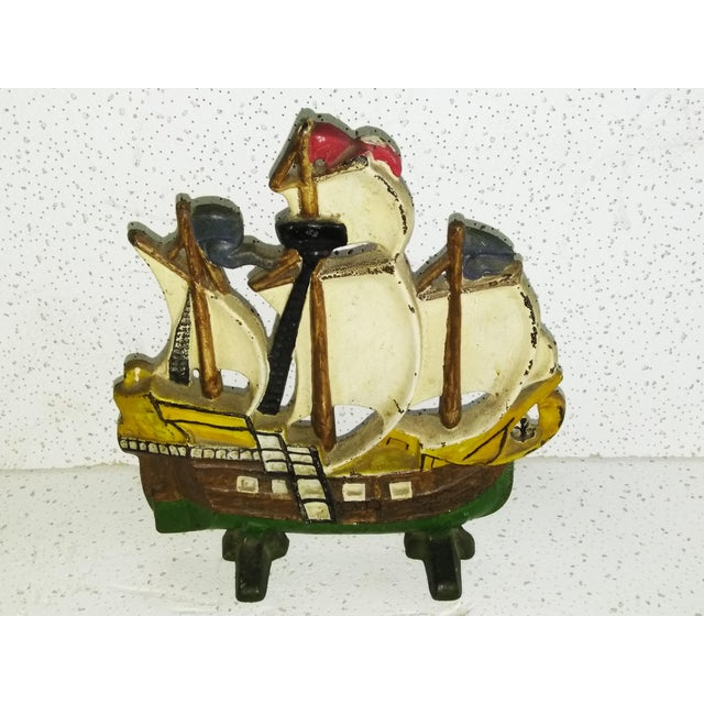 Early 20th Century Vintage Spanish Galleon Cast Iron Doorstop For Sale - Image 4 of 4