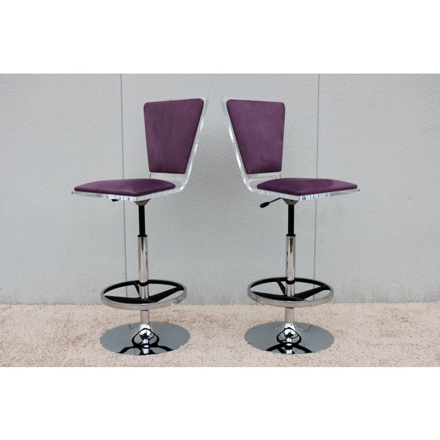Purple Suede & Acrylic Shlomi Haziza Barstools - A Pair For Sale - Image 13 of 13